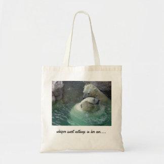 whisper sweet nothings in her ear.... budget tote bag