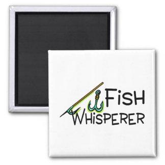 Whisperer de los pescados imán cuadrado