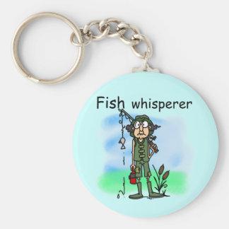 Whisperer de los pescados llavero redondo tipo pin