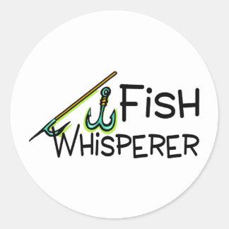 Whisperer de los pescados pegatina redonda
