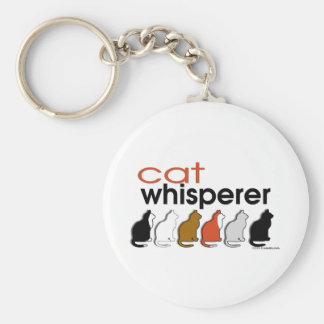Whisperer del gato llavero redondo tipo pin