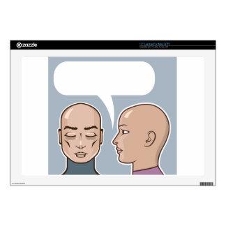 Whispering in the ear speech bubble skin for laptop