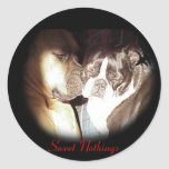 Whispering Sweet Nothings Round Stickers