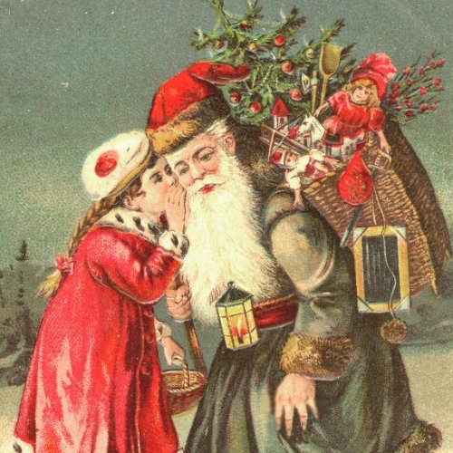 Whispering to Santa Vintage Christmas Stickers sticker