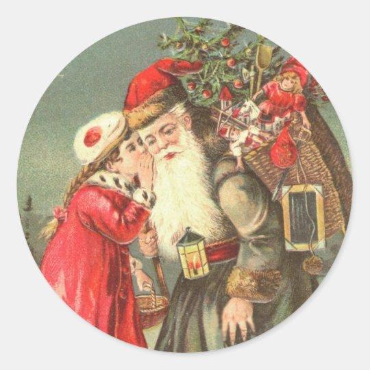 Whispering to Santa Vintage Christmas Stickers