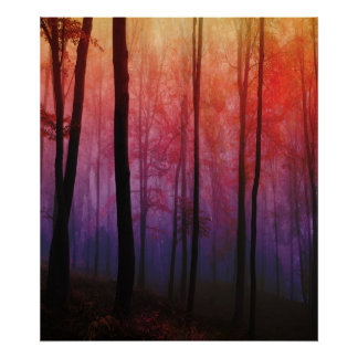 Whispering Woods, Trees Forest Landscape Art Poster