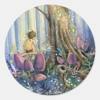 Whisperings del bosque etiquetas redondas