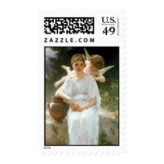 Whisperings of Love, William Adolphe Bouguereau Stamp