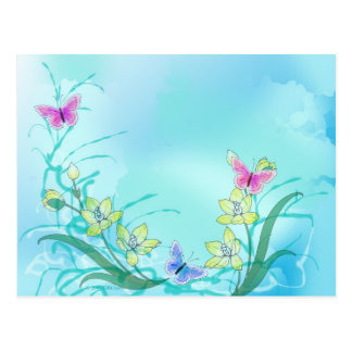 Whispy blue with butterflies postcard