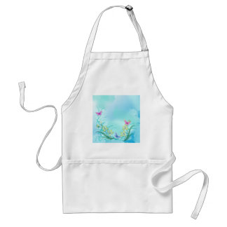 Whispy blue with flowers and butterflies adult apron