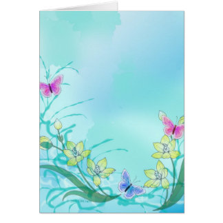 Whispy blue with flowers and butterflies card