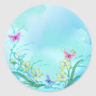 Whispy blue with flowers and butterflies classic round sticker