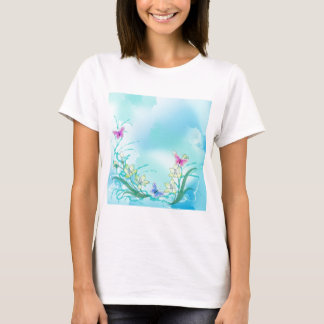 Whispy blue with flowers and butterflies T-Shirt