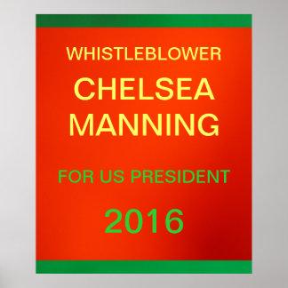 Whistleblower Manning for US President Poster