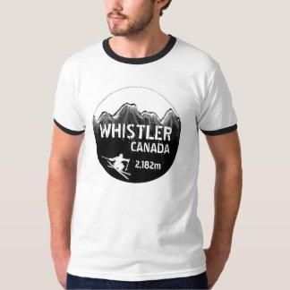 Whistler Canada black ski art guys striped tee