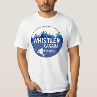 Whistler Canada blue ski art value tee