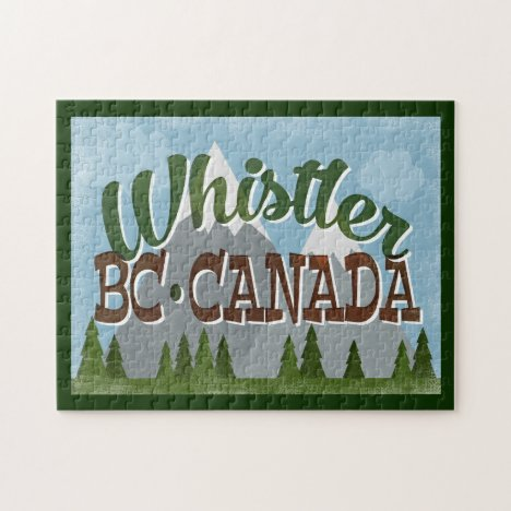 Whistler Canada Fun Retro Snowy Mountains Jigsaw Puzzle