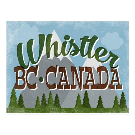 Whistler Canada Fun Retro Snowy Mountains Postcard
