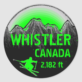 Whistler Canada green ski art stickers