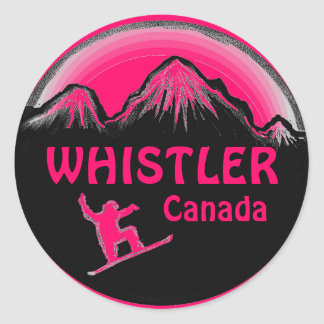 Whistler Canada pink snowboarder stickers