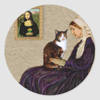 Whistlers Mother - Calico cat Classic Round Sticker