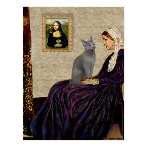 Whistlers Mother - Russian Blue cat Postcard