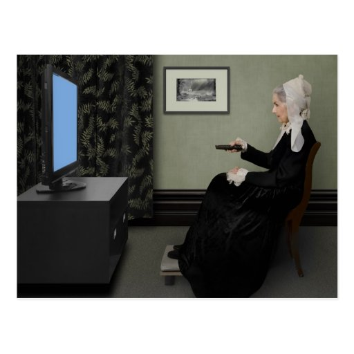 Whistler's Mother Watching T.V. with Remote Post Card