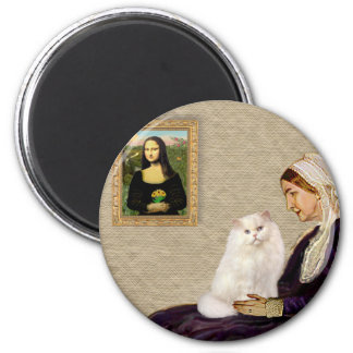 Whistlers Mother - White Persian cat 2 Inch Round Magnet