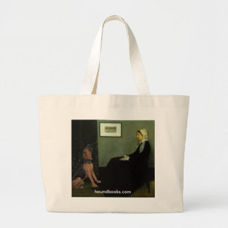 Whistler's Mother With Wimsey the Bloodhound Large Tote Bag
