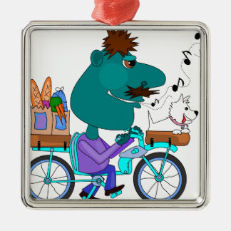 Whistling bicycle rider christmas tree ornaments
