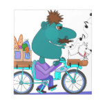 Whistling bicycle rider note pad