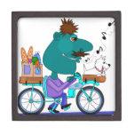 Whistling bicycle rider premium trinket box