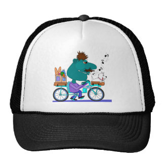 Whistling bicycle rider trucker hat