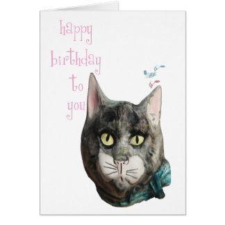 Whistling Cat Happy Birthday Card