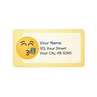 Whistling Face with Smiling Eyes Label