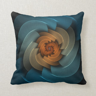 Whistling in the Dark Turquoise & Orange Abstract Pillow
