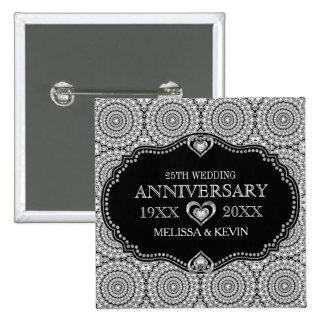Whit Diamonds Glitter 25th Wedding Anniversary Button
