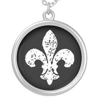 Whit Washout Fleur De Lis Silver Plated Necklace