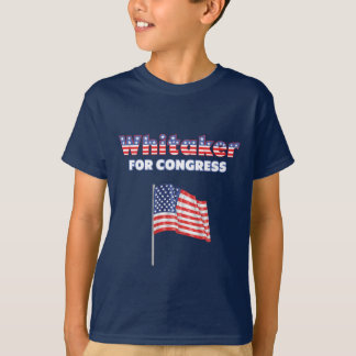 Whitaker for Congress Patriotic American Flag Desi T-Shirt