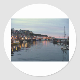 Whitby at dusk classic round sticker