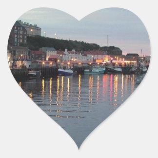 Whitby at dusk heart sticker