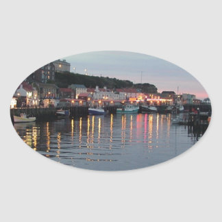 Whitby at dusk oval sticker