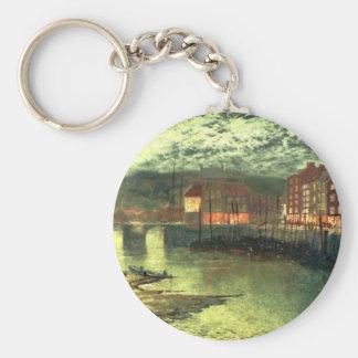 Whitby Docks by John Atkinson Grimshaw Basic Round Button Keychain
