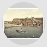 Whitby, from West Cliff, Yorkshire, England rare P Round Sticker