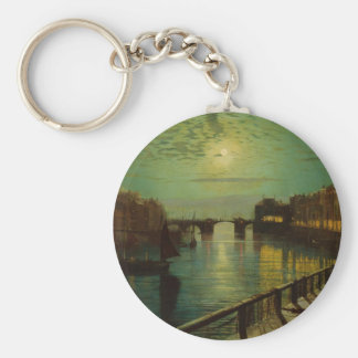 Whitby Harbor by Moonlight John Atkinson Grimshaw Basic Round Button Keychain