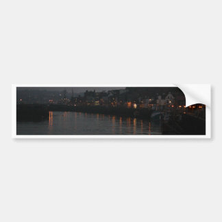 Whitby harbour at night car bumper sticker
