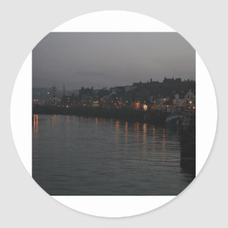 Whitby harbour at night classic round sticker