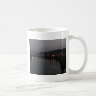 Whitby harbour at night coffee mug