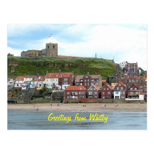 Whitby in North Yorkshire, England. Postcard