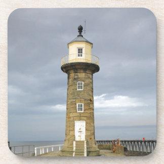 Whitby lighthouse beverage coaster